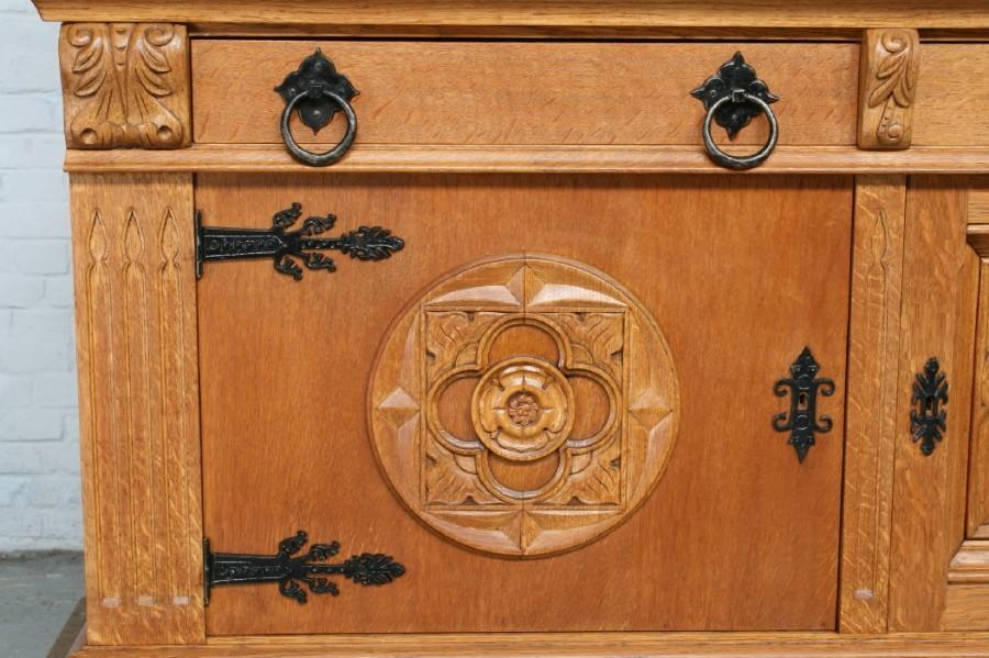 品番6743ヨーロッパ市場在庫品アンティーク家具ダイニング9点セット現地在庫商品1940年代ベルギー原産オーク製_画像4