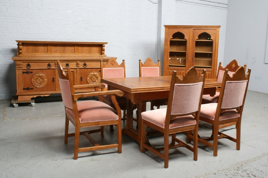 品番6743ヨーロッパ市場在庫品アンティーク家具ダイニング9点セット現地在庫商品1940年代ベルギー原産オーク製_画像1
