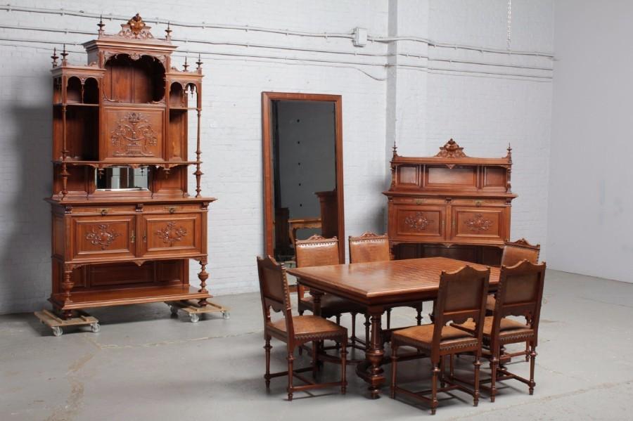 品番8023ヨーロッパ市場在庫品アンティーク家具ダイニング10点セット現地在庫商品1900年代ベルギー原産ウォールナット製_画像1