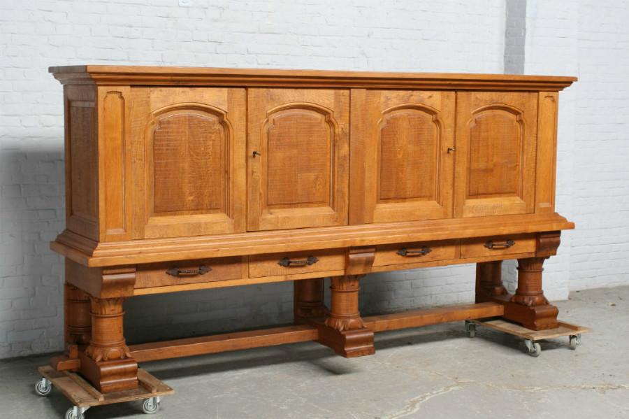 品番6905ヨーロッパ市場在庫品アンティーク家具ダイニング9点セット現地在庫商品1920年代フランス原産オーク製_画像2
