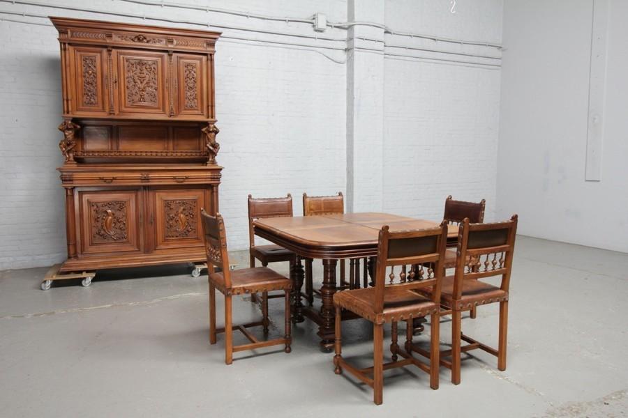 品番8544現地在庫販売フランス原産アンティーク家具ウォールナット製ダイニングルーム8点セット1890年_画像1