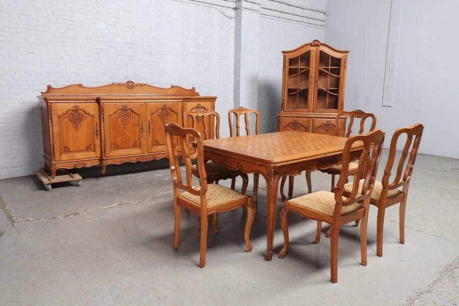 品番8799ヨーロッパ市場在庫品アンティーク家具ダイニング9点セット現地在庫商品1920年代ベルギー原産オーク製_画像1