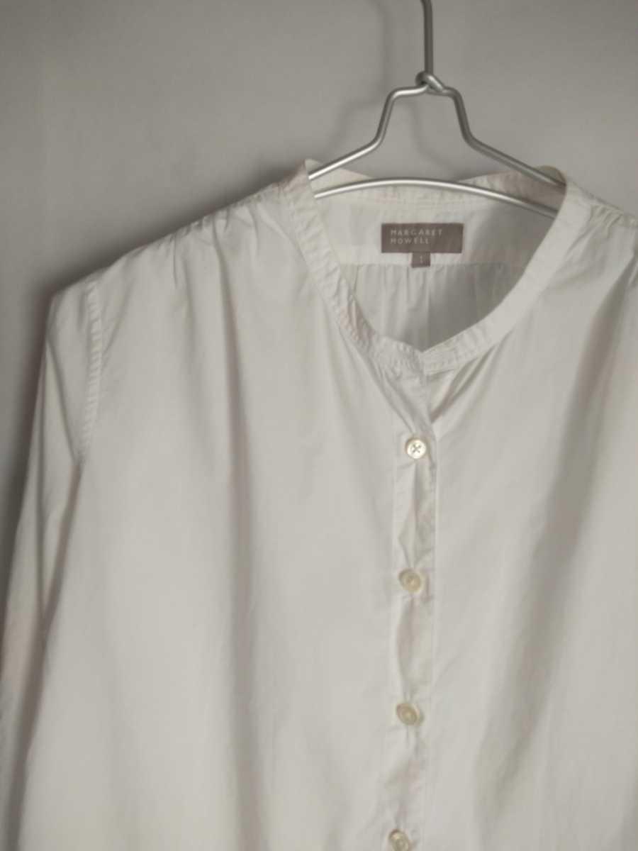 長袖 シャツ ブラウス ノーカラー スタンドカラー バンドカラー コットン 綿 白 ホワイト 美品 マーガレットハウエル MHL