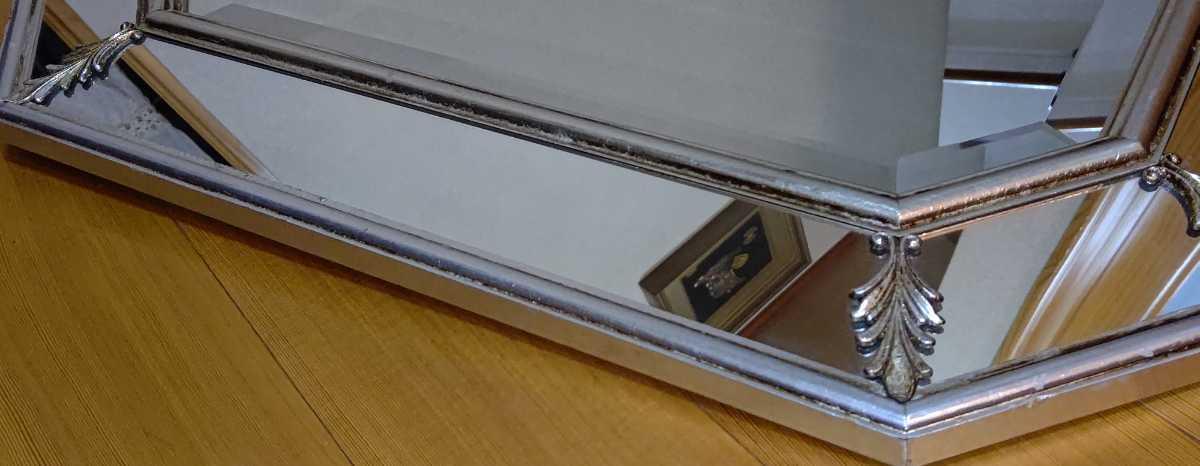 アンティーク調 ウォールミラー 壁掛け 鏡 クラシックスタイル ロココ調 レトロ 中古 送料無料 即決_画像4