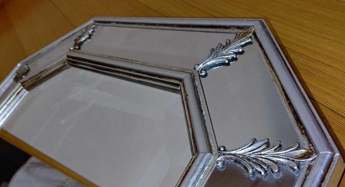 アンティーク調 ウォールミラー 壁掛け 鏡 クラシックスタイル ロココ調 レトロ 中古 送料無料 即決_画像6