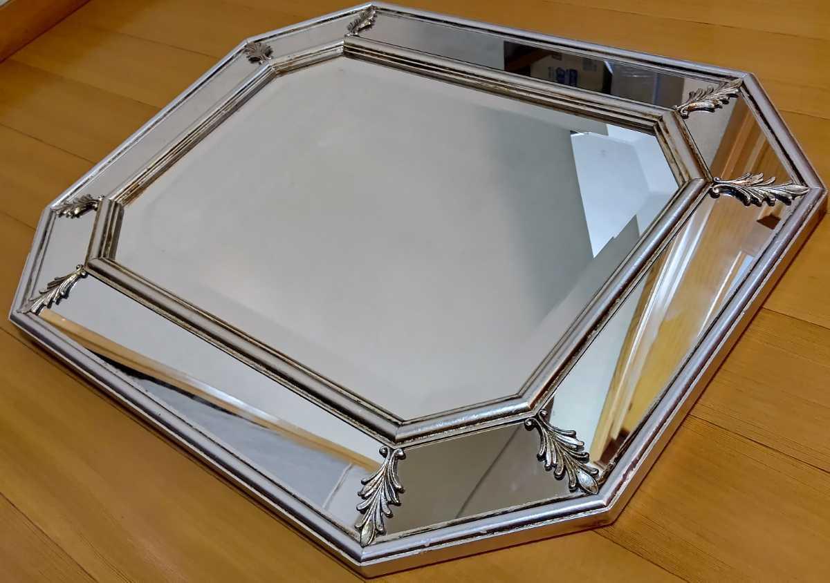 アンティーク調 ウォールミラー 壁掛け 鏡 クラシックスタイル ロココ調 レトロ 中古 送料無料 即決_画像3