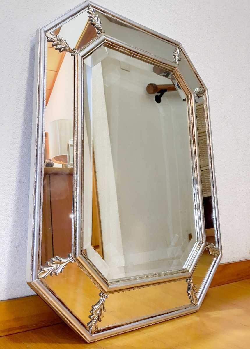 アンティーク調 ウォールミラー 壁掛け 鏡 クラシックスタイル ロココ調 レトロ 中古 送料無料 即決_画像1