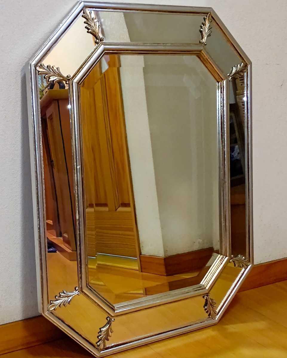 アンティーク調 ウォールミラー 壁掛け 鏡 クラシックスタイル ロココ調 レトロ 中古 送料無料 即決_画像2
