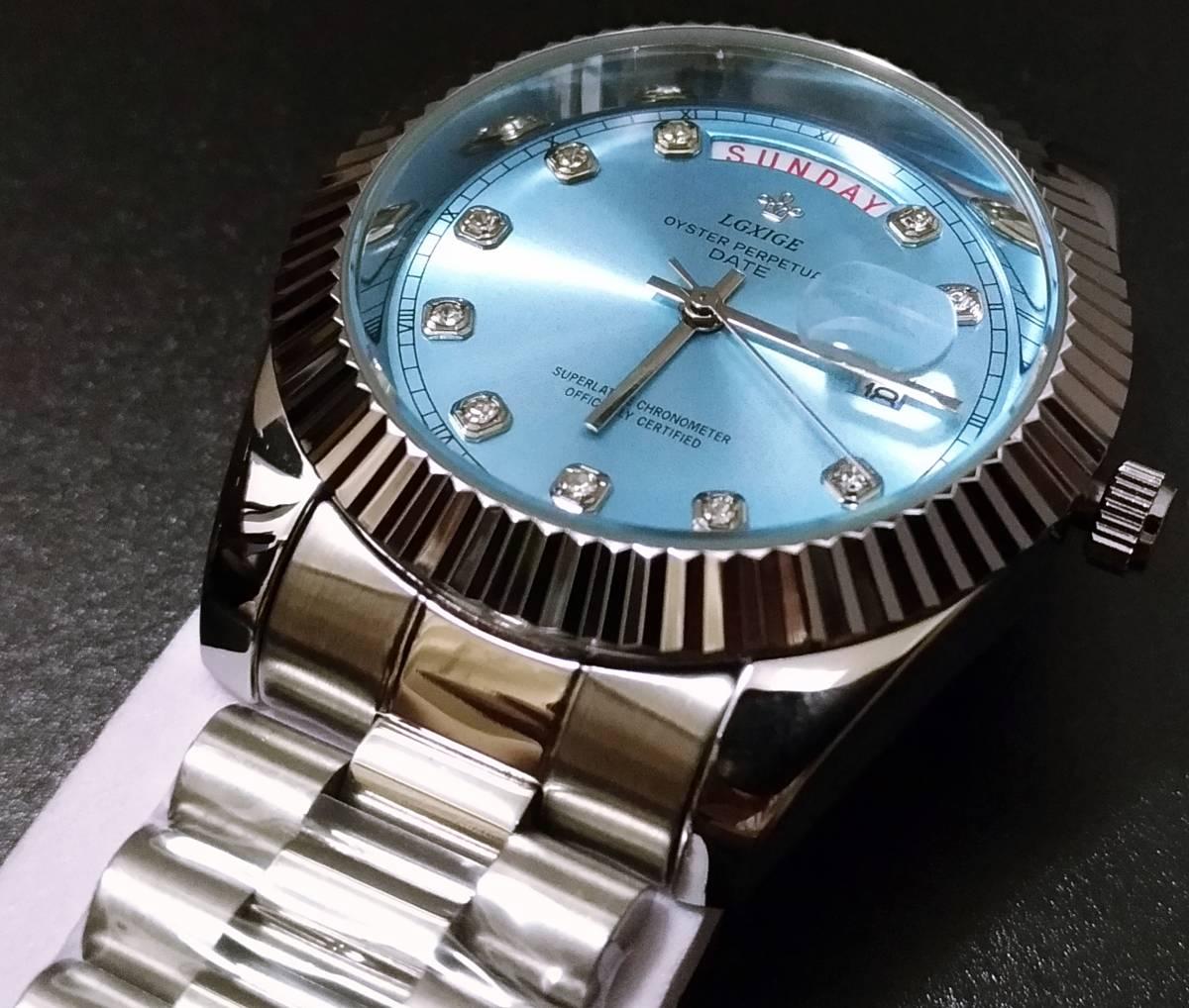 【送料無料】LGXIGE デイデイトスタイル アイスブルー ハイエンド ロレックス系オマージュ ウォッチ 腕時計 高級 メンズ サファイア_画像4