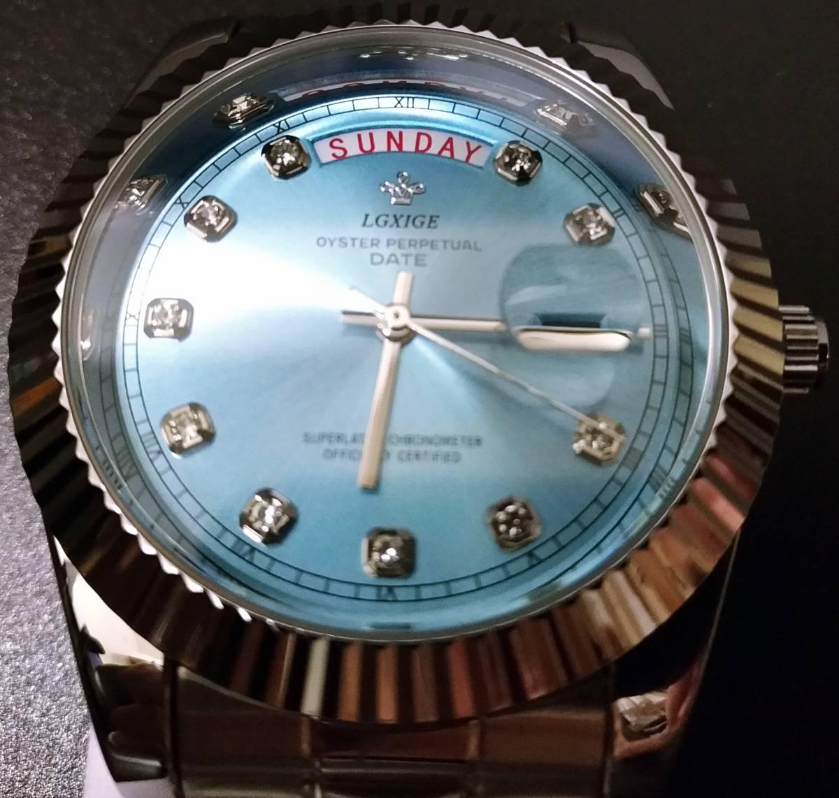 【送料無料】LGXIGE デイデイトスタイル アイスブルー ハイエンド ロレックス系オマージュ ウォッチ 腕時計 高級 メンズ サファイア_画像2