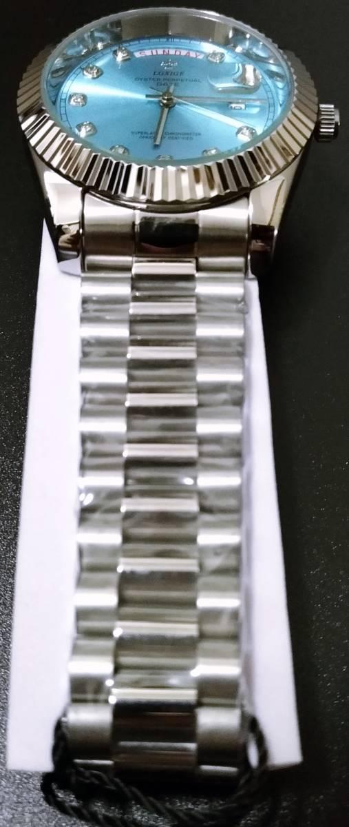 【送料無料】LGXIGE デイデイトスタイル アイスブルー ハイエンド ロレックス系オマージュ ウォッチ 腕時計 高級 メンズ サファイア_画像3