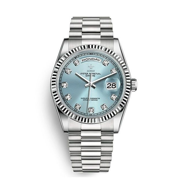 【送料無料】LGXIGE デイデイトスタイル アイスブルー ハイエンド ロレックス系オマージュ ウォッチ 腕時計 高級 メンズ サファイア_画像1