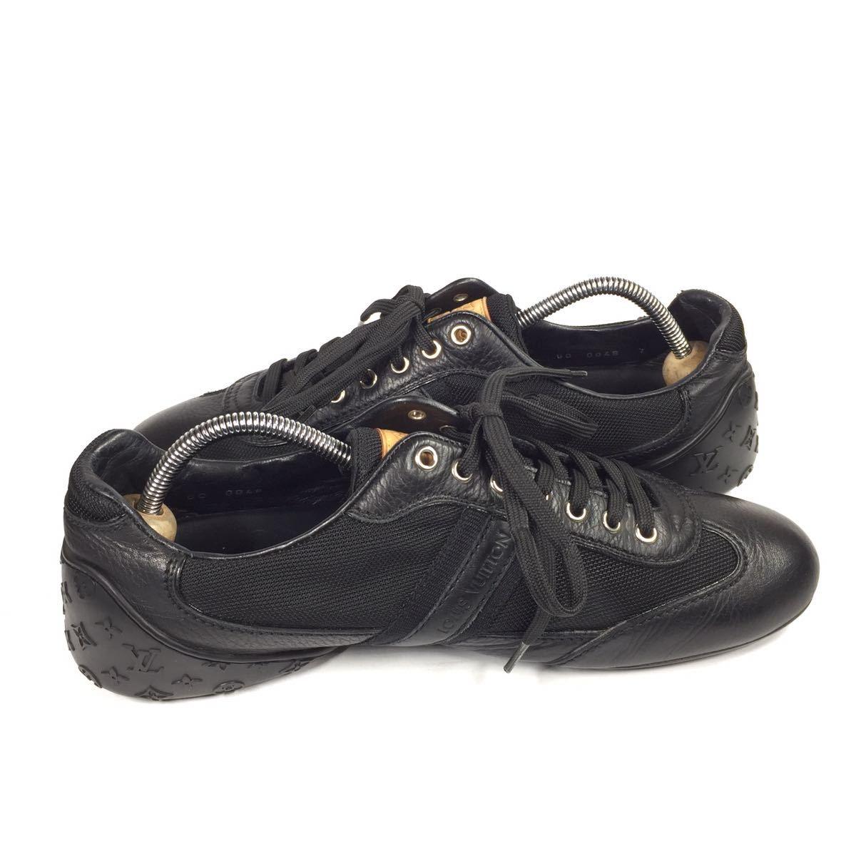 【ルイヴィトン】本物 LOUIS VUITTON 靴 26cm 黒 モノグラム スニーカー カジュアルシューズ 本革×化学繊維 レザー メンズ イタリア製 7_画像7