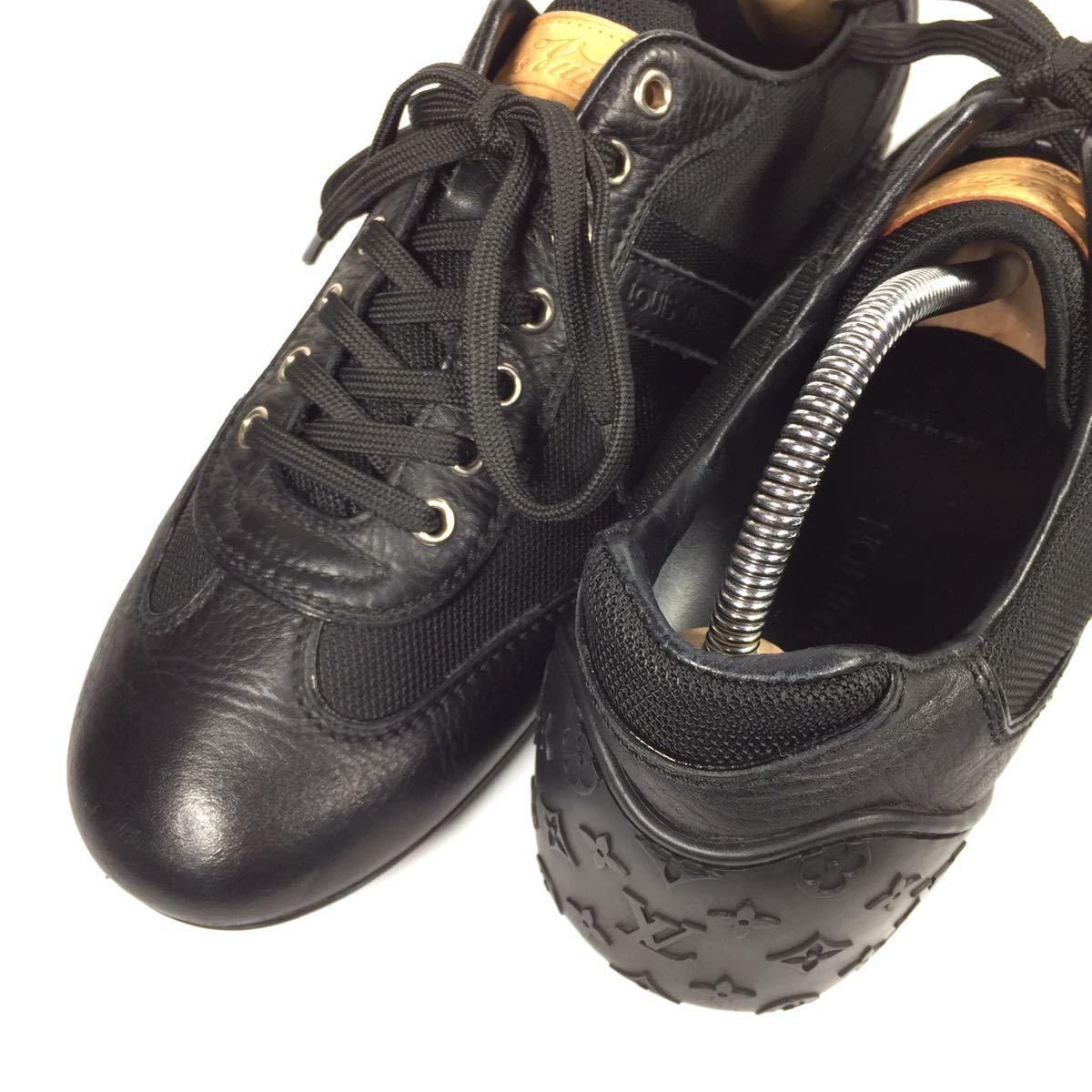【ルイヴィトン】本物 LOUIS VUITTON 靴 26cm 黒 モノグラム スニーカー カジュアルシューズ 本革×化学繊維 レザー メンズ イタリア製 7_画像8