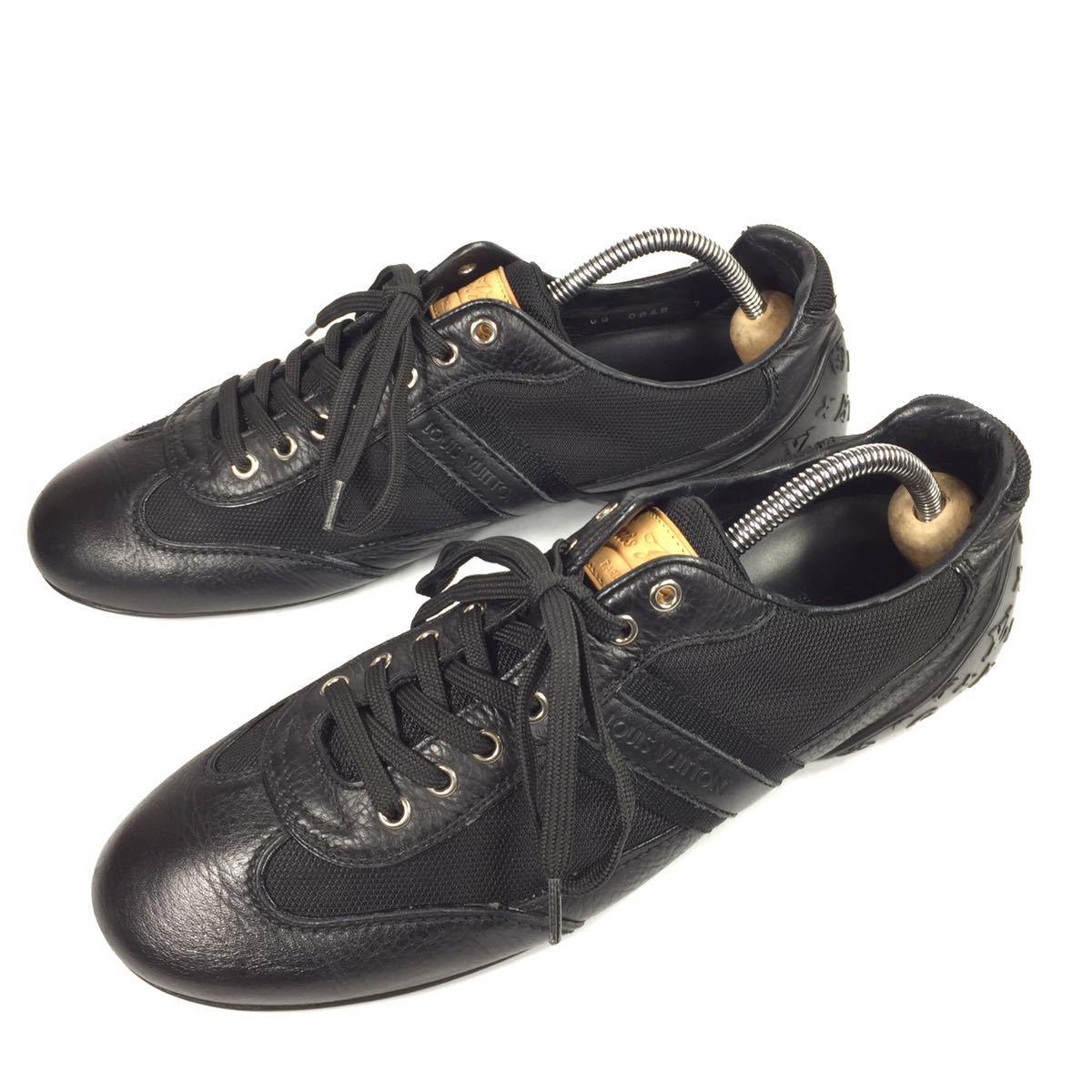【ルイヴィトン】本物 LOUIS VUITTON 靴 26cm 黒 モノグラム スニーカー カジュアルシューズ 本革×化学繊維 レザー メンズ イタリア製 7_画像1