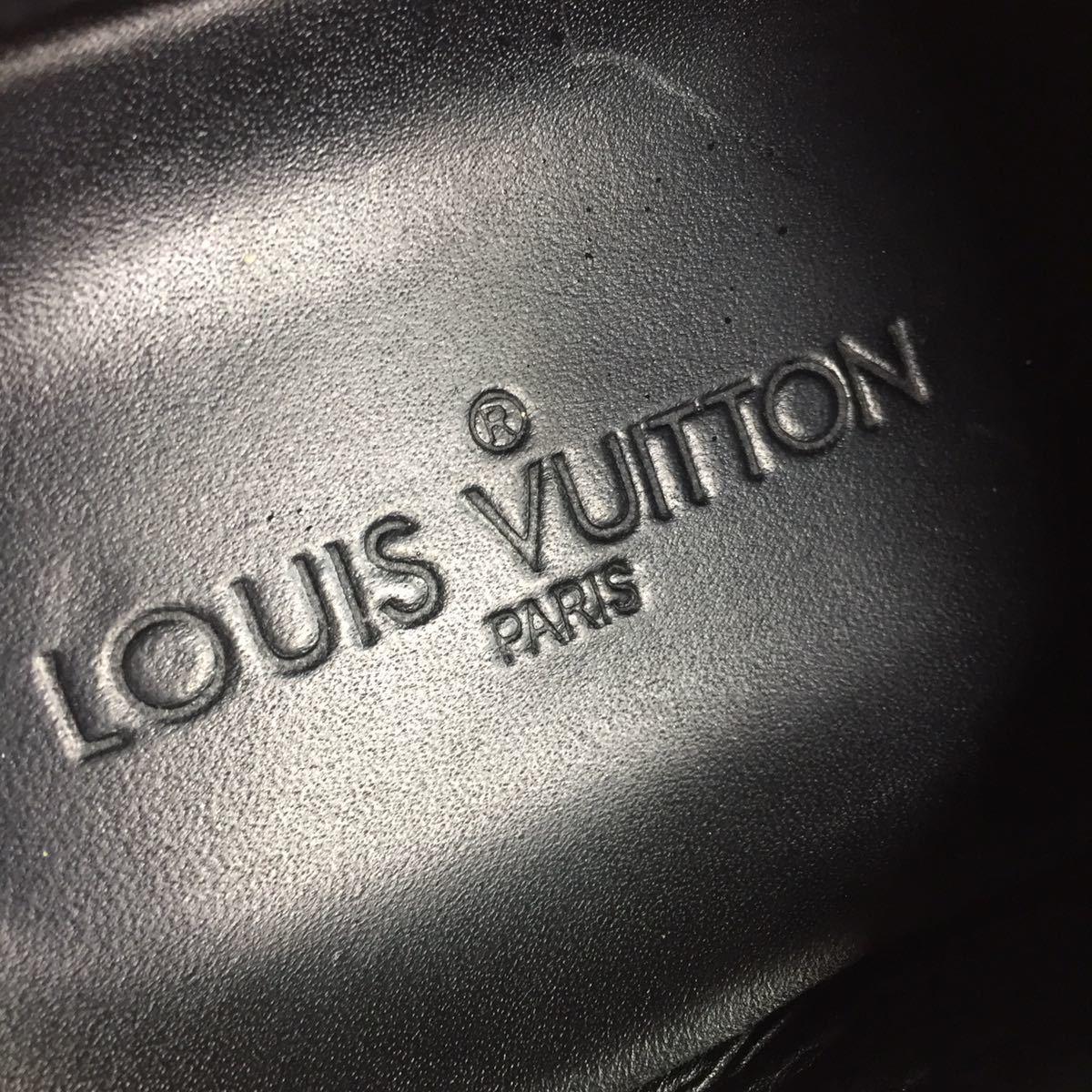 【ルイヴィトン】本物 LOUIS VUITTON 靴 26cm 黒 モノグラム スニーカー カジュアルシューズ 本革×化学繊維 レザー メンズ イタリア製 7_画像9