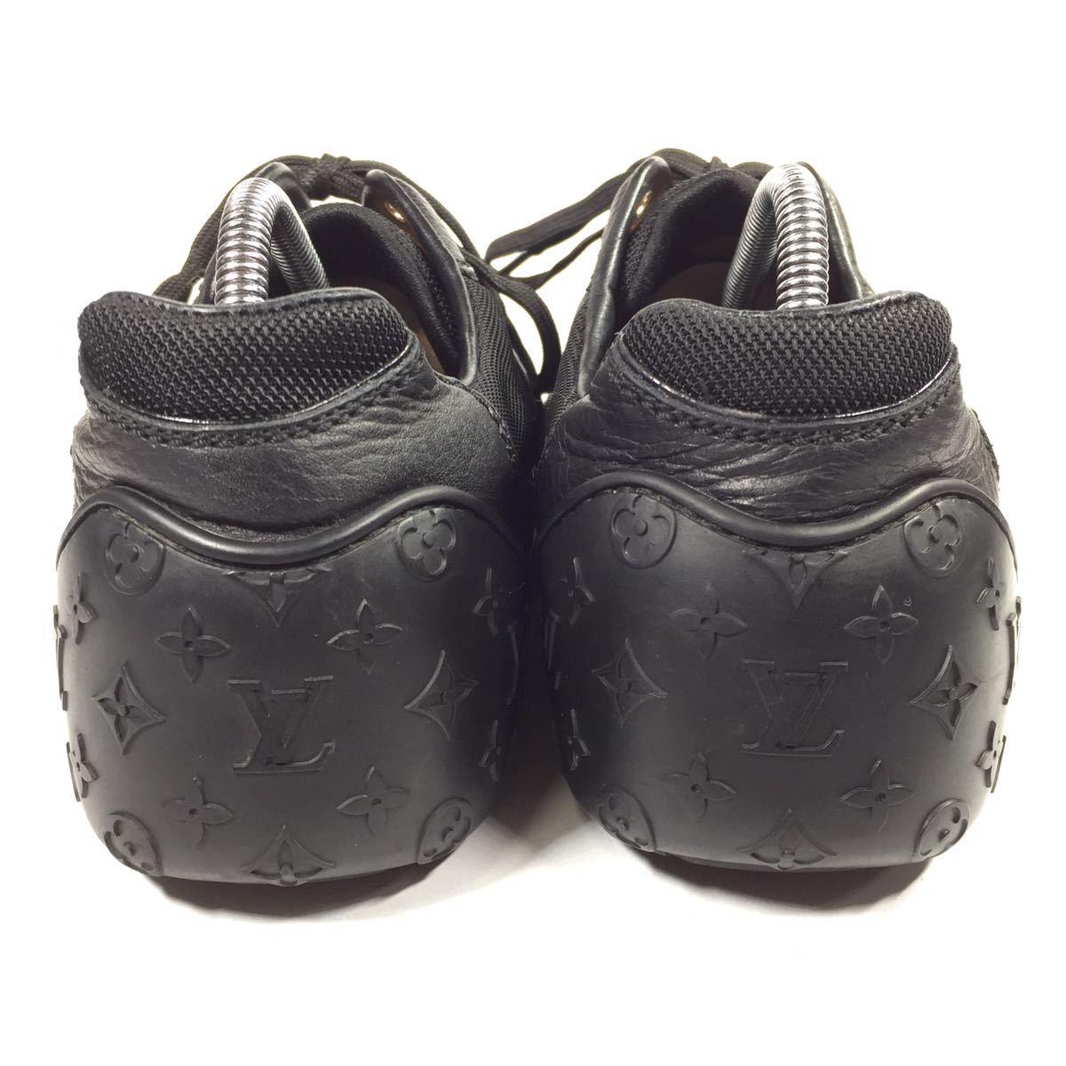【ルイヴィトン】本物 LOUIS VUITTON 靴 26cm 黒 モノグラム スニーカー カジュアルシューズ 本革×化学繊維 レザー メンズ イタリア製 7_画像3