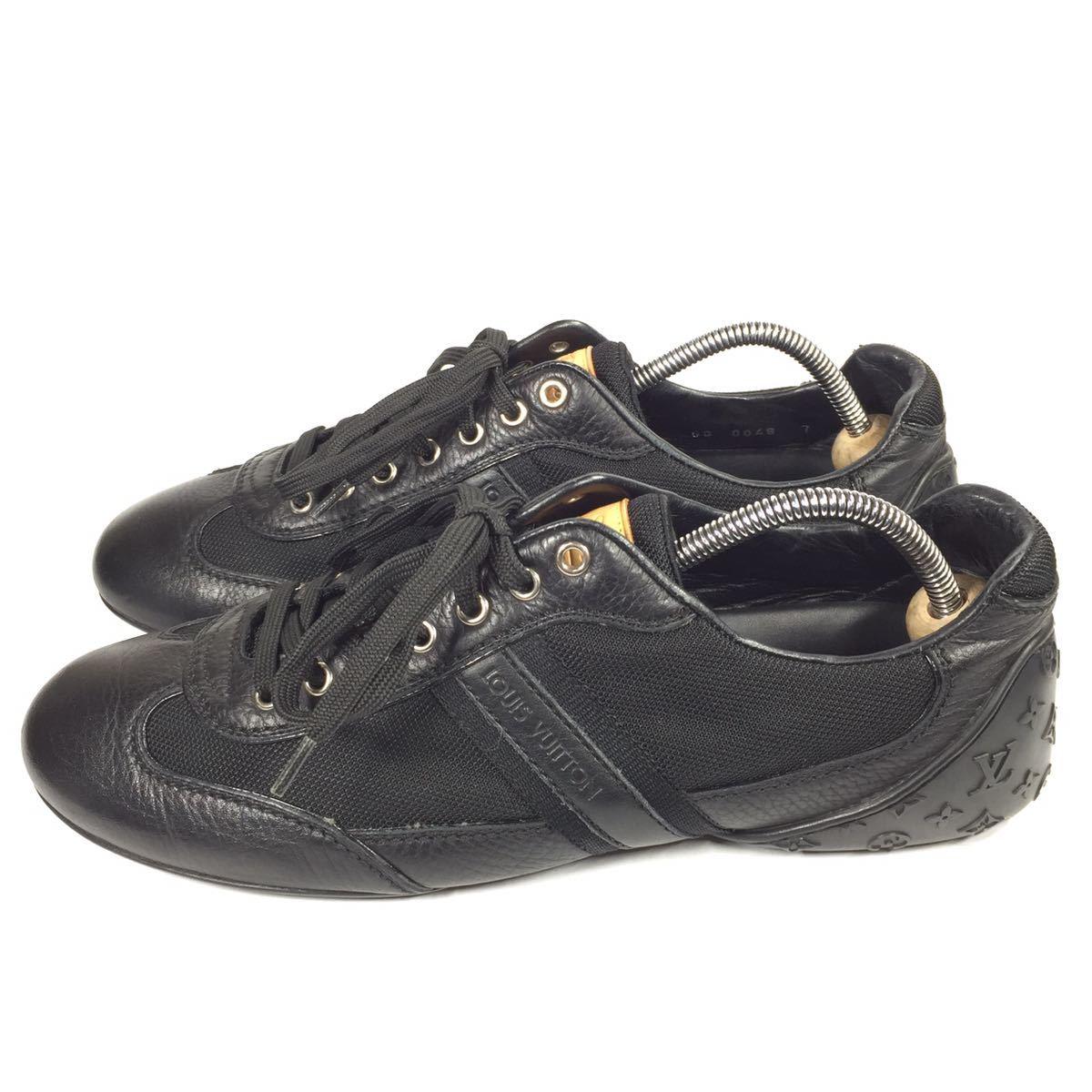 【ルイヴィトン】本物 LOUIS VUITTON 靴 26cm 黒 モノグラム スニーカー カジュアルシューズ 本革×化学繊維 レザー メンズ イタリア製 7_画像6