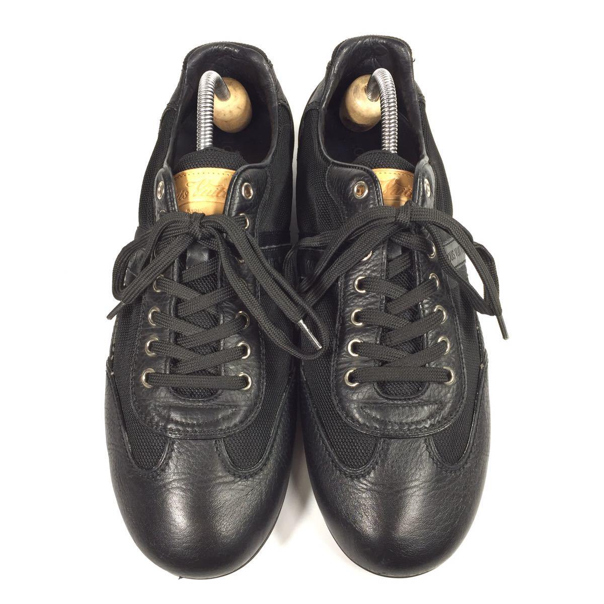 【ルイヴィトン】本物 LOUIS VUITTON 靴 26cm 黒 モノグラム スニーカー カジュアルシューズ 本革×化学繊維 レザー メンズ イタリア製 7_画像2