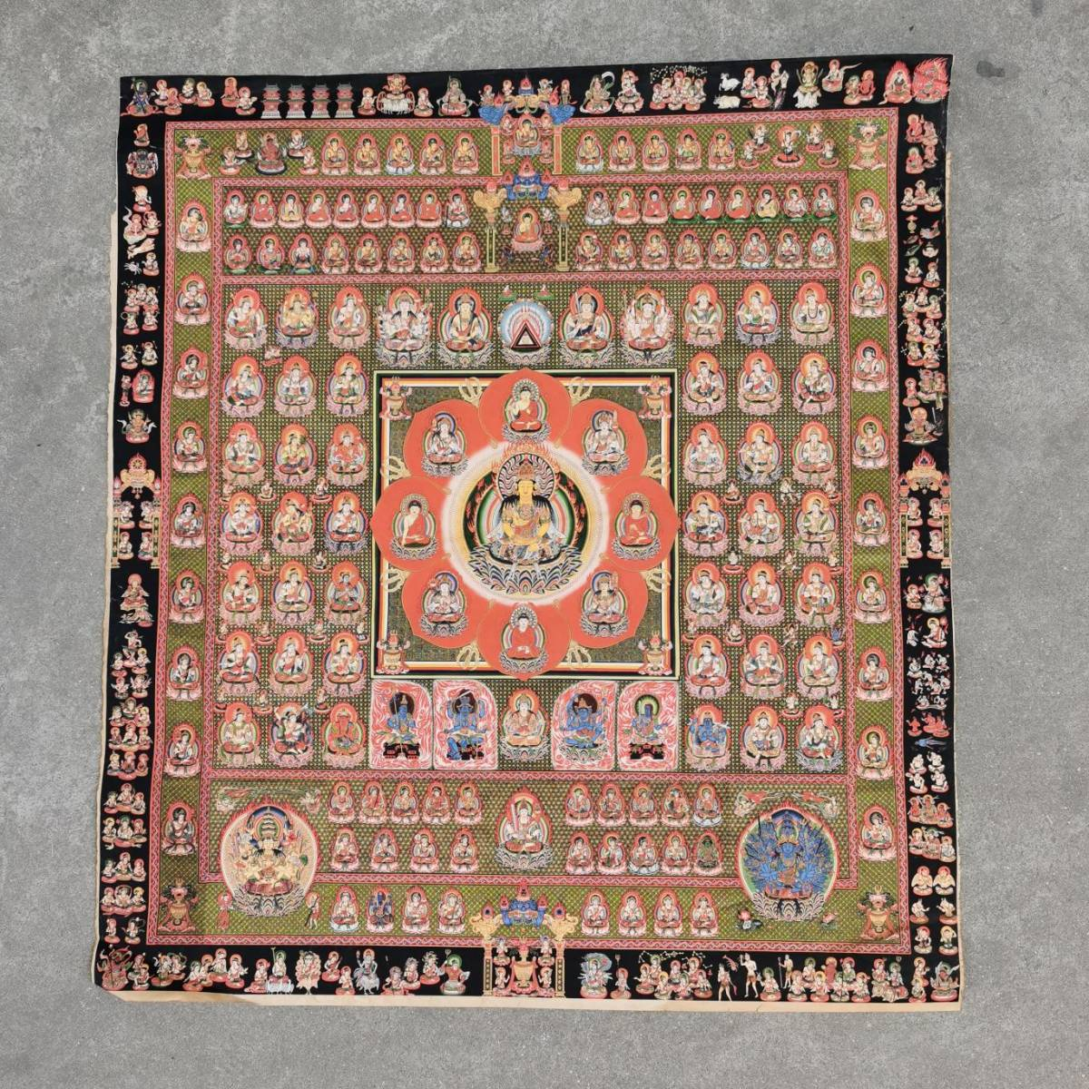 特別配布 胎蔵界 曼荼羅 曼陀羅 マンダラ チベットタントリックタンカ 印刷画  チベット仏像 大判 タンカ インテリア 装飾_画像2