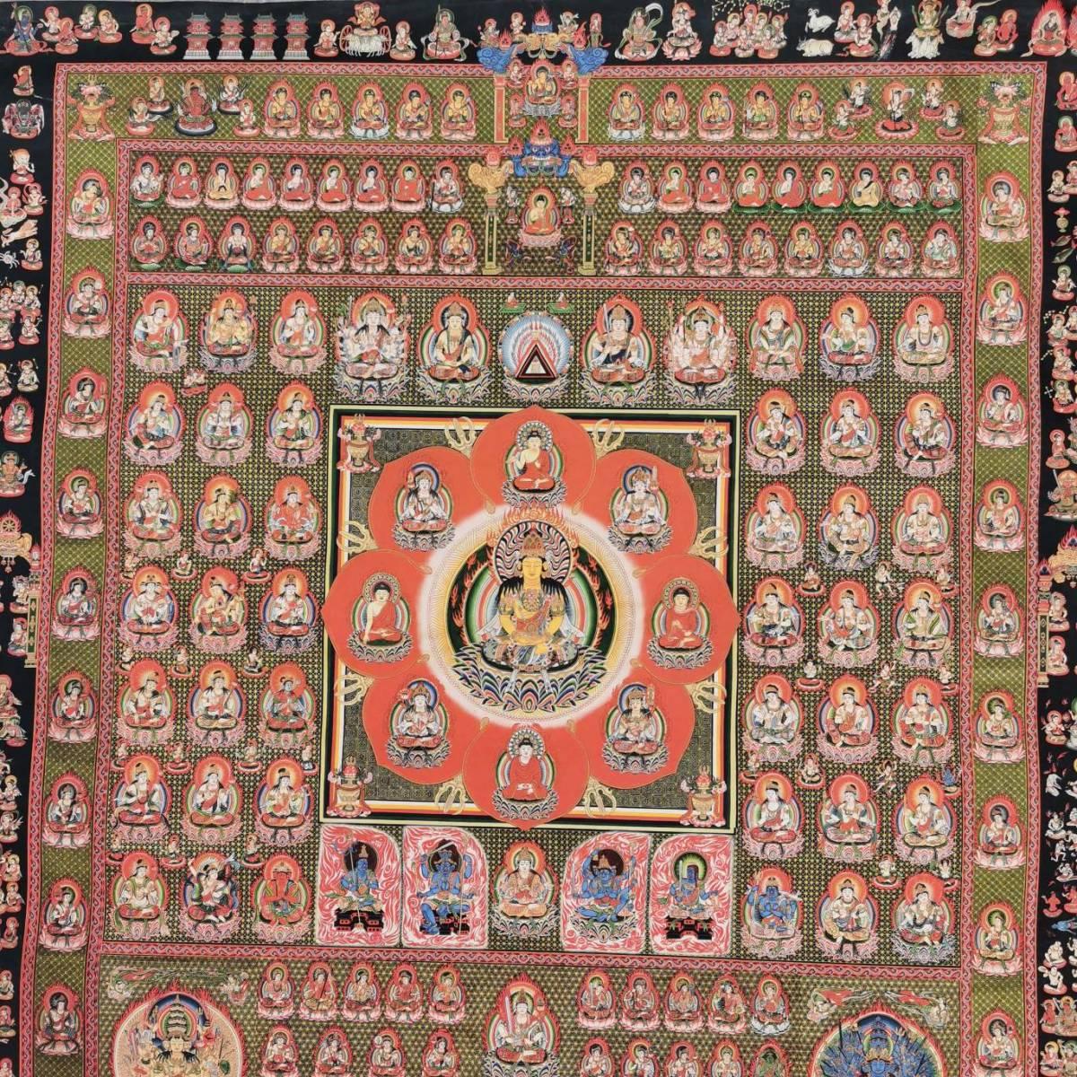 特別配布 胎蔵界 曼荼羅 曼陀羅 マンダラ チベットタントリックタンカ 印刷画  チベット仏像 大判 タンカ インテリア 装飾_画像3