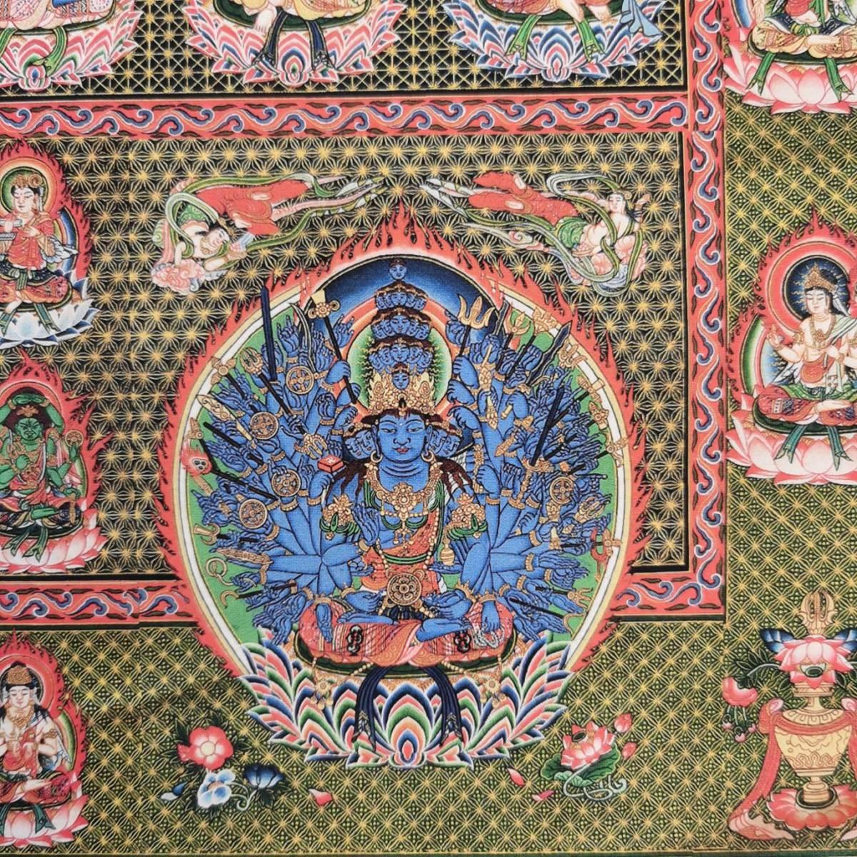 特別配布 胎蔵界 曼荼羅 曼陀羅 マンダラ チベットタントリックタンカ 印刷画  チベット仏像 大判 タンカ インテリア 装飾_画像4