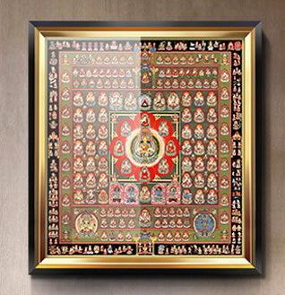 胎蔵界 曼荼羅 曼陀羅 マンダラ チベットタントリック タンカ 特別配布 印刷画  チベット仏像 大判 タンカ インテリア 装飾_額装例です。額は付属しません。