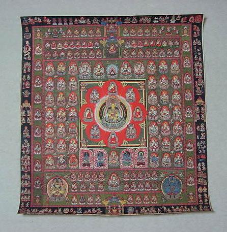 胎蔵界 曼荼羅 曼陀羅 マンダラ チベットタントリック タンカ 特別配布 印刷画  チベット仏像 大判 タンカ インテリア 装飾_画像1