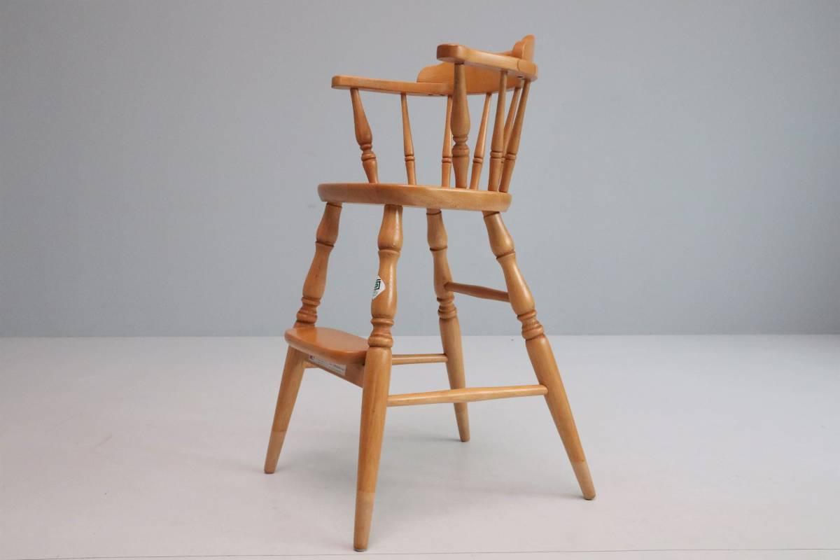 飛騨産業 キツツキ ヴィンテージ ベビーチェア チャイルド キッズ ハイチェア 子供 椅子 ナチュラル / 英国アンティーク 北欧 無印 柏木工_画像6