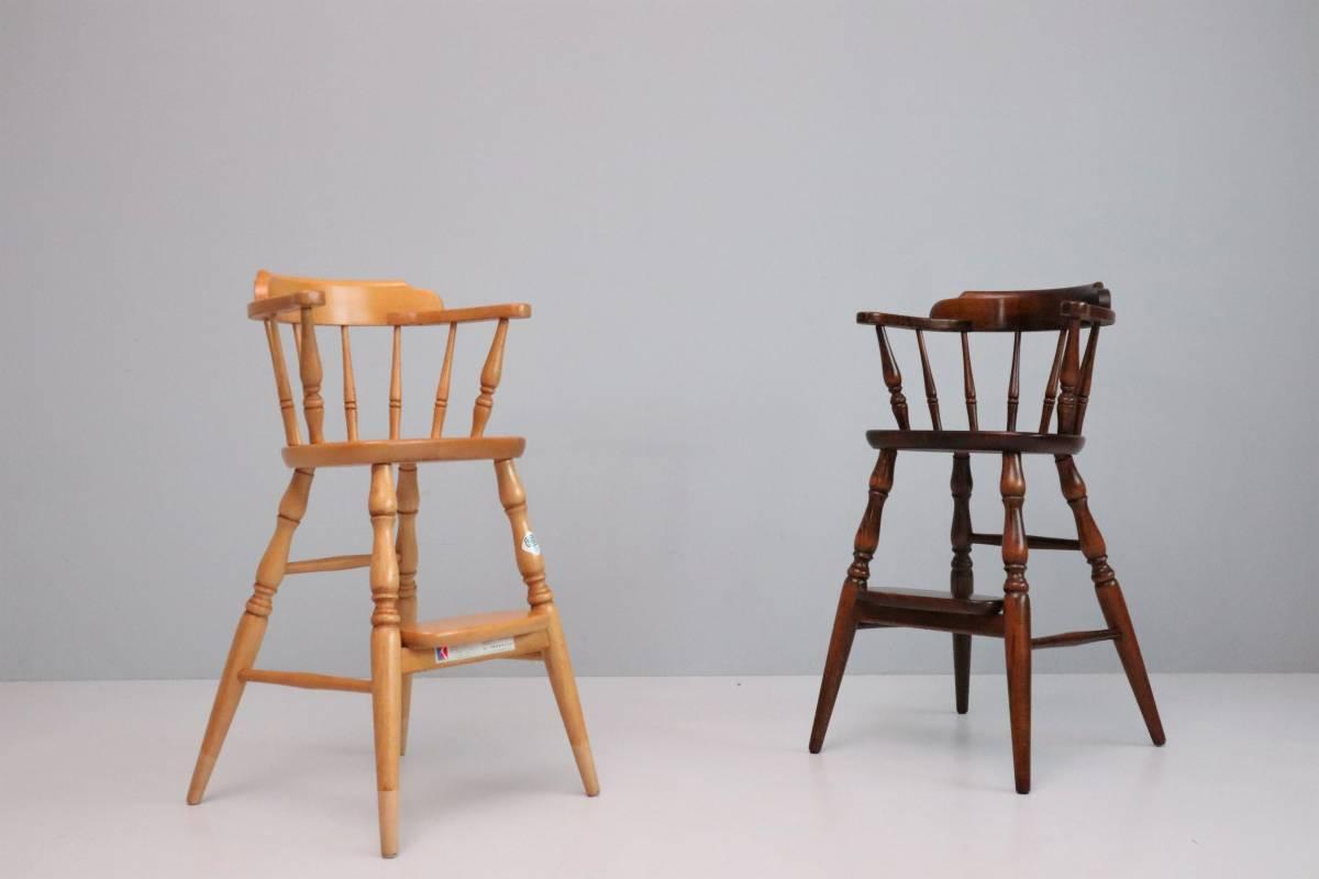 飛騨産業 キツツキ ヴィンテージ ベビーチェア チャイルド キッズ ハイチェア 子供 椅子 ナチュラル / 英国アンティーク 北欧 無印 柏木工_画像9