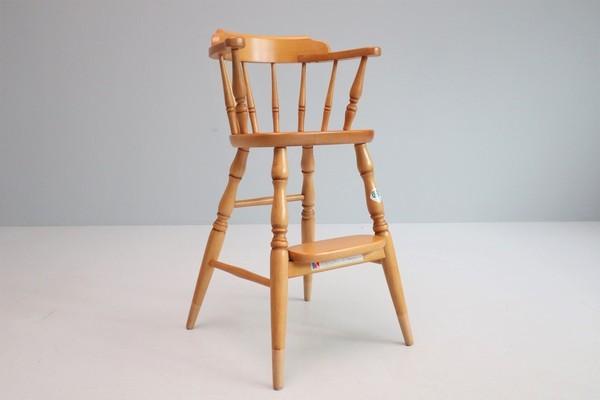 飛騨産業 キツツキ ヴィンテージ ベビーチェア チャイルド キッズ ハイチェア 子供 椅子 ナチュラル / 英国アンティーク 北欧 無印 柏木工_画像1