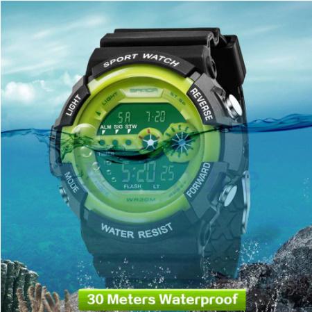 A1295 メンズ腕時計 ステンレス鋼 led デジタル 日付 アラーム 防水 スポーツ アーミー 電子時計 ファッション アウトドア_画像4