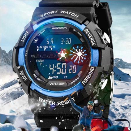 A1295 メンズ腕時計 ステンレス鋼 led デジタル 日付 アラーム 防水 スポーツ アーミー 電子時計 ファッション アウトドア_画像1