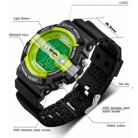 A1295 メンズ腕時計 ステンレス鋼 led デジタル 日付 アラーム 防水 スポーツ アーミー 電子時計 ファッション アウトドア_画像9