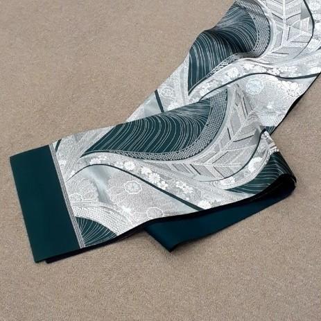 生地 厚手 袋帯 西陣織 深緑 銀 未仕立 はぎれ ハギレ リメイク