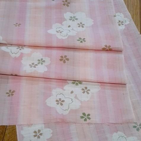 生地 綿 浴衣 淡いピンクオレンジ桜 はぎれ ハギレ リメイク ハンドメイド