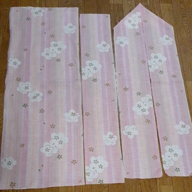 生地 綿 ピンクオレンジ 桜 手拭いサイズ 襟 はぎれ ハギレ リメイク