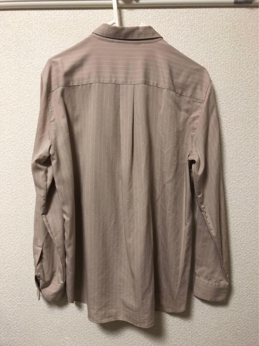 長袖シャツ ストライプシャツ 襟付きシャツ ユニクロ 羽織シャツ ベージュシャツ