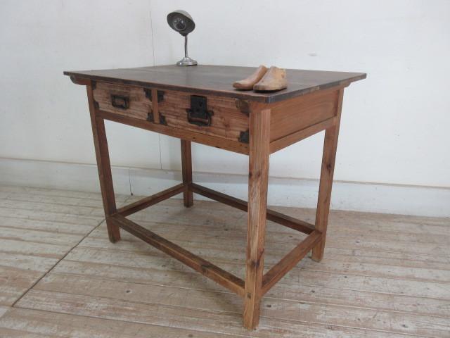 古い木味の2杯引出し平机K242   アンティークデスク作業台カウンターテーブル店舗什器カフェ什器無垢材古家具_画像2