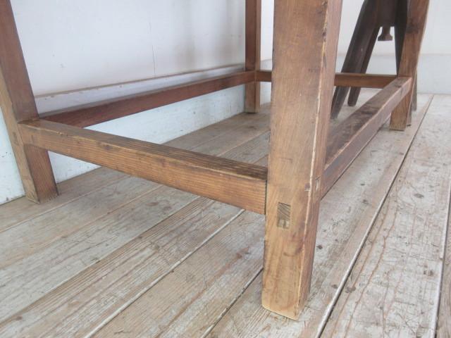 古い木味の2杯引出し平机K242   アンティークデスク作業台カウンターテーブル店舗什器カフェ什器無垢材古家具_画像7