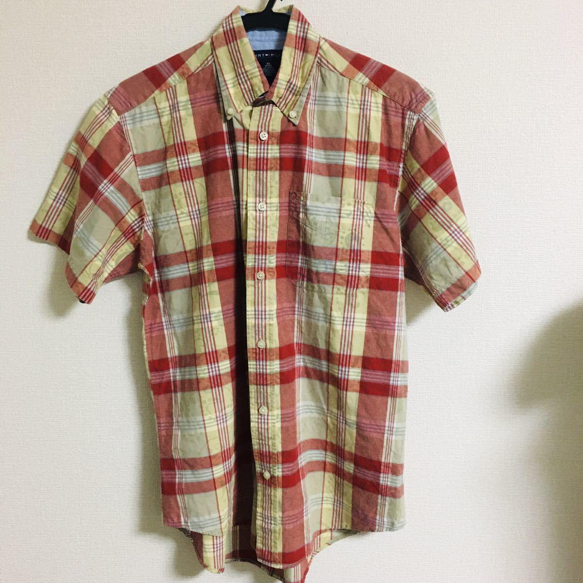 半袖シャツ チェック柄 ボタンダウンシャツ TOMMY HILFIGER XS