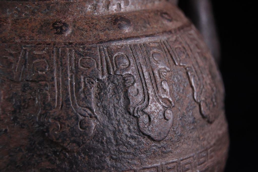 龍文堂 『鉄瓶』 大国 在銘 饕餮文 鳥摘み 銅蓋 湯沸 茶道具 煎茶道具