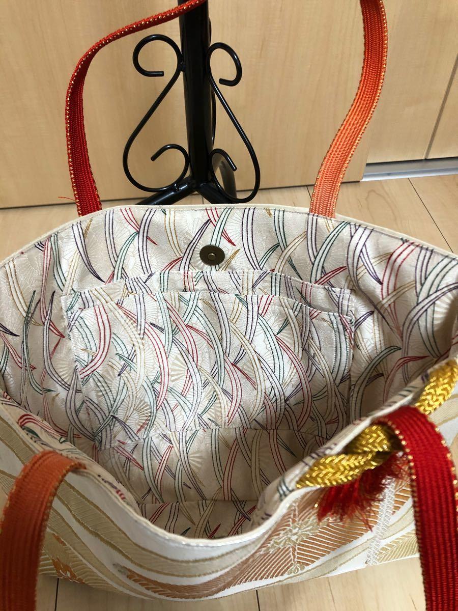 トートバッグ ハンドメイド 着物リメイク 帯 サブバッグ ハンドメイドバッグ