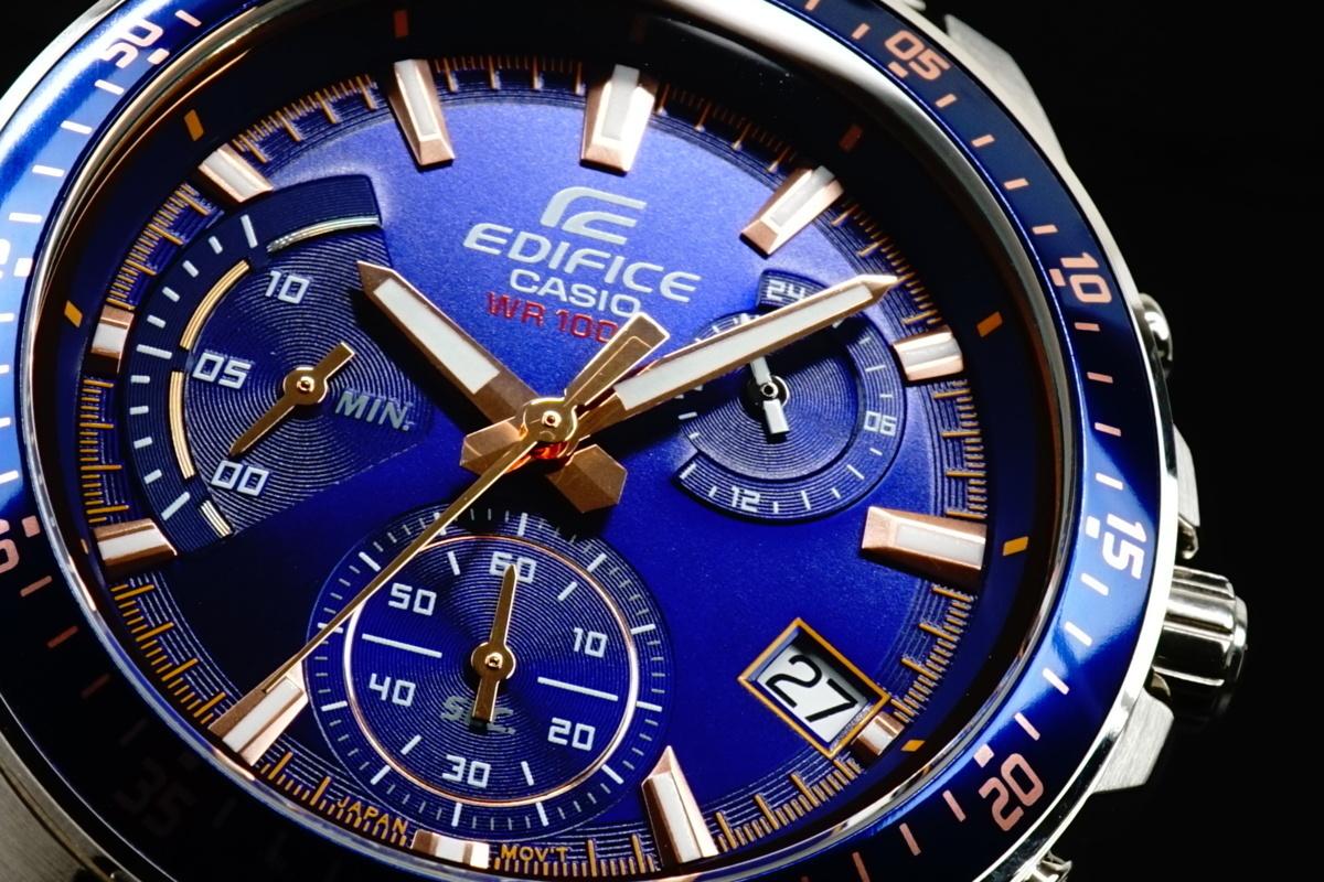 1円×3点 カシオ逆輸入EDIFICEエディフィス欧米モデル ブルーベゼル 100m防水 クロノグラフ 腕時計 新品 未使用 CASIO メンズ 1スタ 本物