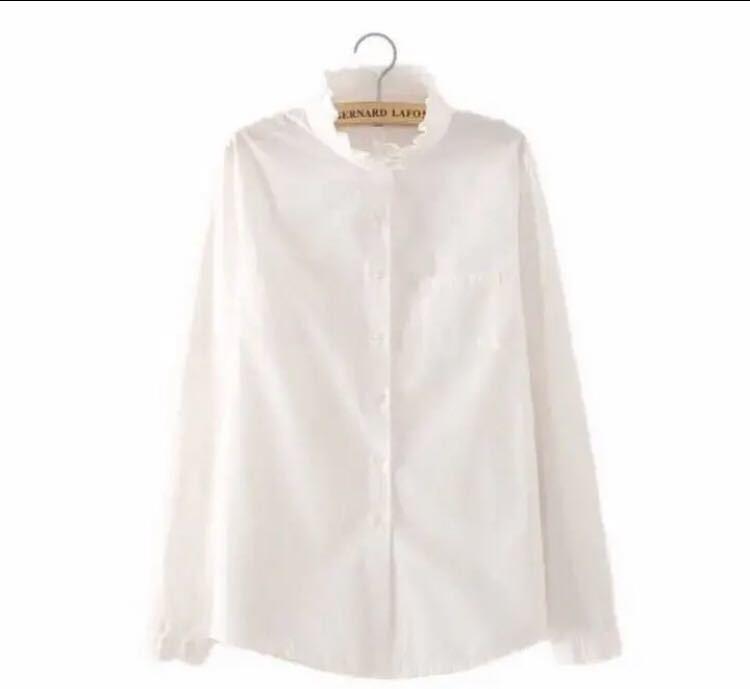 ブラウスL  レディース シャツ 長袖 スーツ 白 ホワイト フリル ポケット長袖シャツ