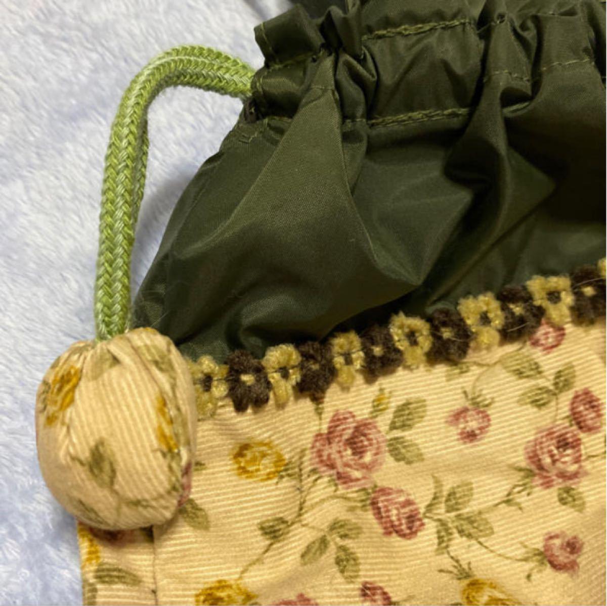 ハンドメイド 巾着袋 弁当袋 花柄 ぼんぼん ポーチ 小物入れ