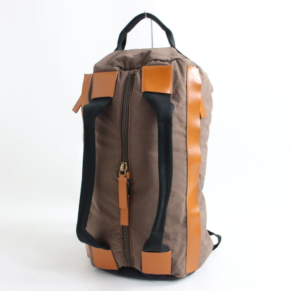 良品◎MARNI マルニ レザー使い 2WAY リュックサック/ミニボストンバッグ ブラウン 正規品 イタリア製 保存袋付き_画像1