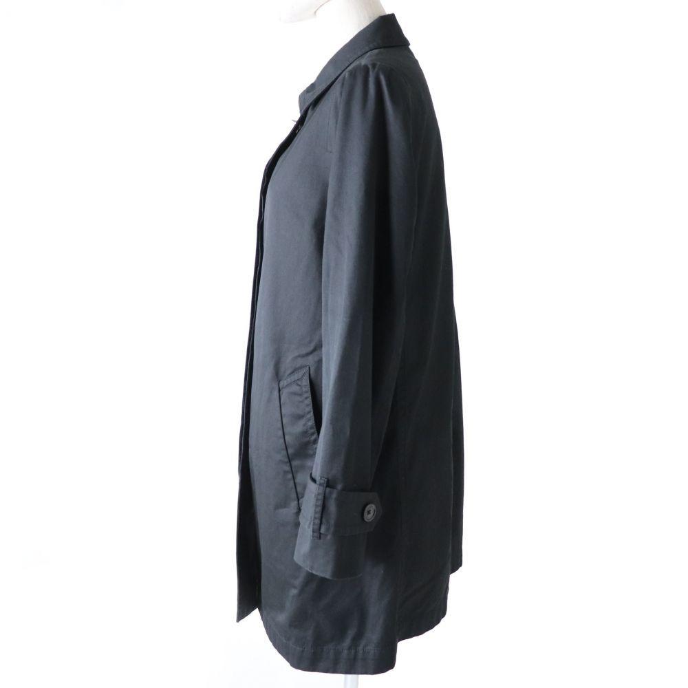 良品◇正規品 COACH コーチ 裏地シグネチャー柄 ロゴボタン付 ターンロック コットン100% ステンカラーコート ブラック 黒 レディース XS_画像2