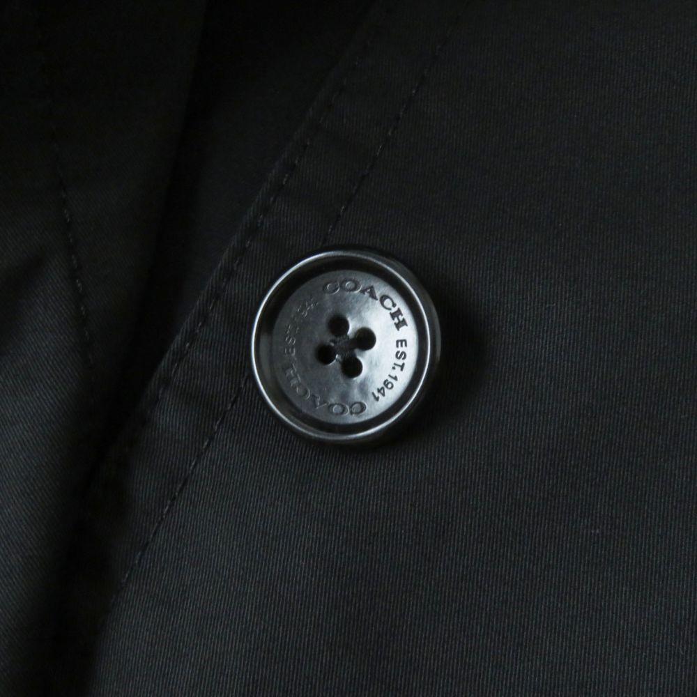 良品◇正規品 COACH コーチ 裏地シグネチャー柄 ロゴボタン付 ターンロック コットン100% ステンカラーコート ブラック 黒 レディース XS_画像7