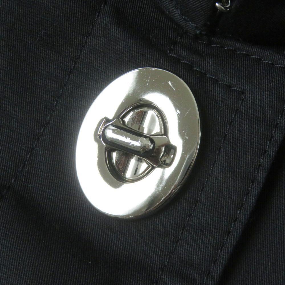 良品◇正規品 COACH コーチ 裏地シグネチャー柄 ロゴボタン付 ターンロック コットン100% ステンカラーコート ブラック 黒 レディース XS_画像6